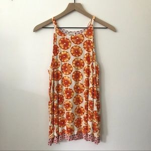 Anthropologie Porridge Orange Layered Swing Tank S